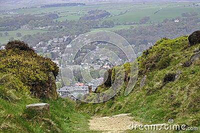Paesaggio inglese della campagna: case, traccia, cespuglio