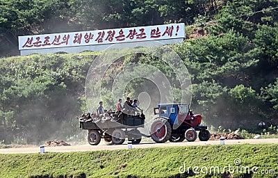 Paesaggio nordcoreano del villaggio Fotografia Editoriale