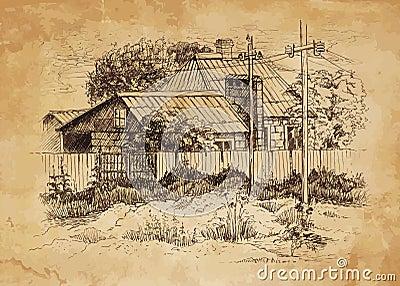 Paesaggio rurale con la vecchia fattoria illustrazione for Nuovi piani di vecchia fattoria