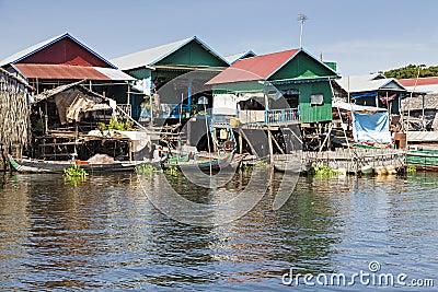 Paesino di pescatori di galleggiamento