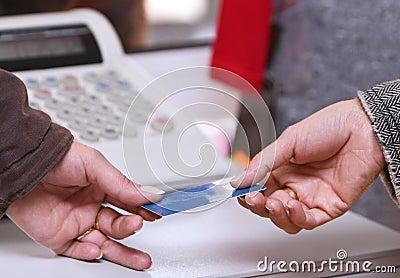 Pagamento em o momento do cartão de crédito
