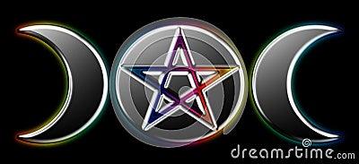 Pagan Moon Phases - Black Rainbow )O(
