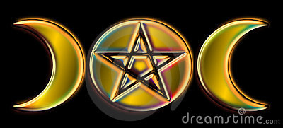 Pagan Moon Phases - Gold Rainbow )O(