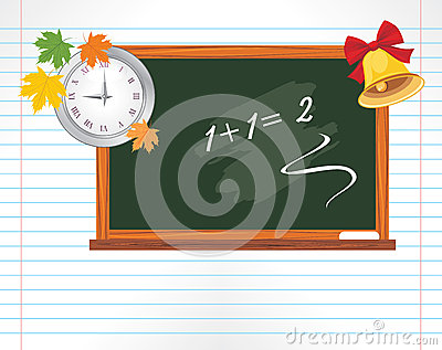 Page with chalkboard, watch and school bell