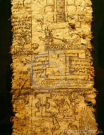 A page of codex. Aztec Empire, reign of Emperor