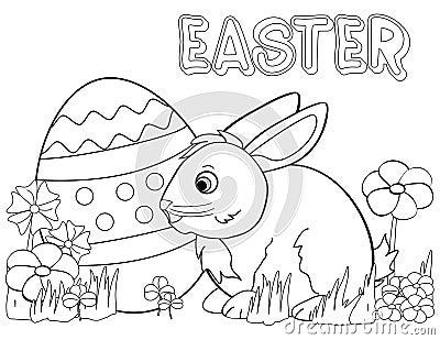 Page de coloration de lapin de Pâques