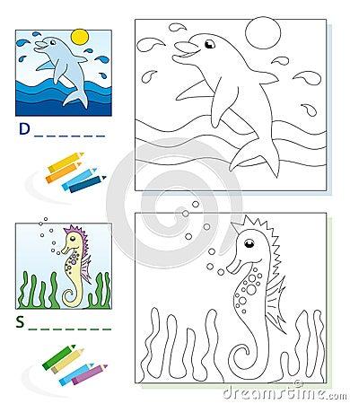 Page de livre de coloration : dauphin et hippocampe