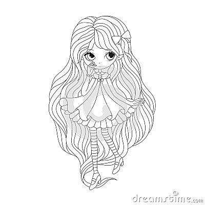 Page de livre de coloriage elfe de fille illustration de vecteur image 57762621 - Coloriage elfe ...