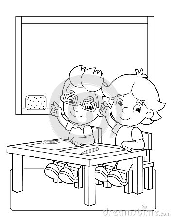 The page with exercises for kids - coloring book - illustration for the children