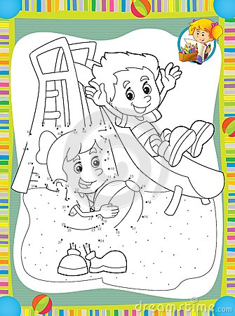 The page with exercises for kids - coloring book - make up - illustration for the children