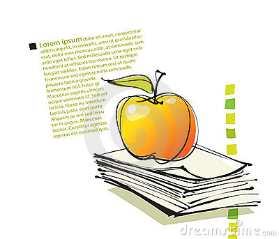 Page layout with apple icon, freehand drawing
