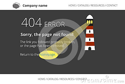 Page not found Error 404 with lighthouse on dark
