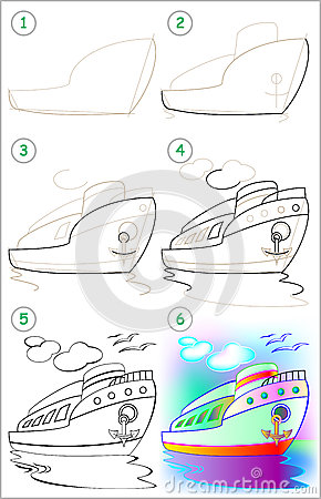 page shows how to learn step by step to draw a ship cartoon vector