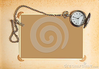 Page with vintage clock with chain