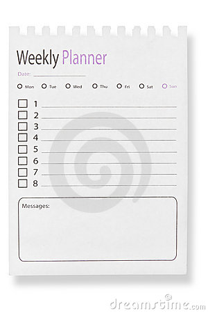 Page of weekly calendar