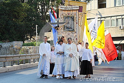 Pageantry for Assumption of Mary Editorial Stock Image