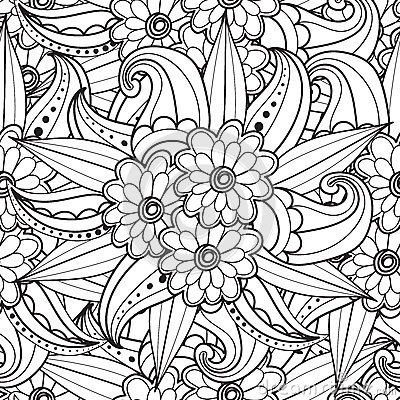 Free Pages For Adult Coloring Book. Hand Drawn Artistic Ethnic Ornamental Patterned Floral Frame In Doodle. Stock Image - 69159551