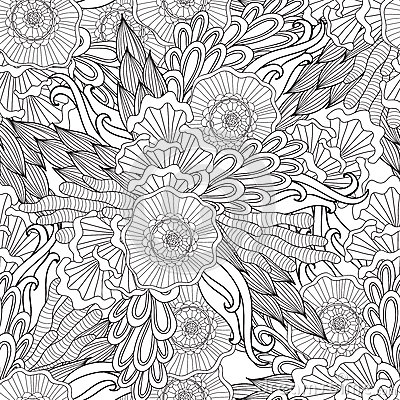 Free Pages For Adult Coloring Book. Hand Drawn Artistic Ethnic Ornamental Patterned Floral Frame In Doodle. Stock Images - 70743654