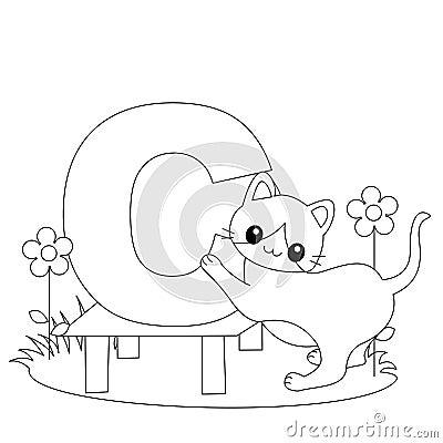 Pagina animale di coloritura di alfabeto C