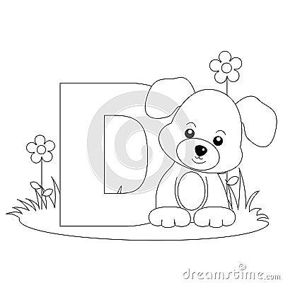 Pagina animale di coloritura di alfabeto D