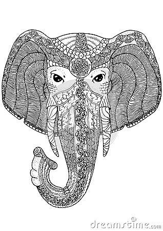Pagina del libro da colorare per gli adulti elefante - Libro da colorare elefante libro ...