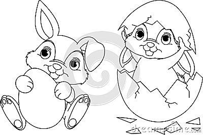 Pagina di coloritura del coniglietto di pasqua