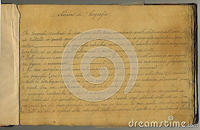 Pagina originale del taccuino dell annata