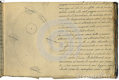 Pagina originale del taccuino di astronomia