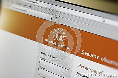 Che uno schermo di computer video il homepage di odnoklasniki ru
