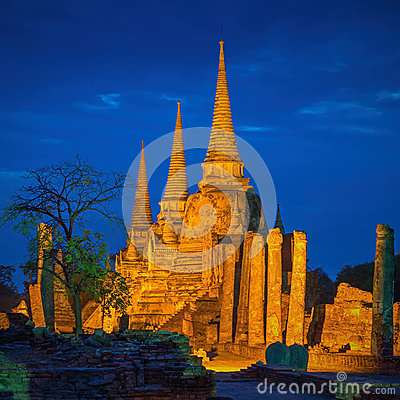 Free Pagoda At Wat Phra Sri Sanphet Temple Is World Heritage. Stock Photos - 57298083