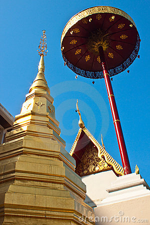 Pagoda and big umbrella at Wat Pra-bart,Phrae