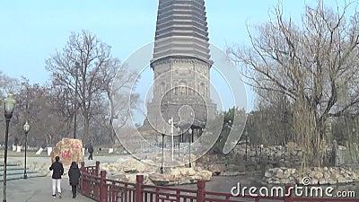 Pagoda blanca en liaoyang almacen de metraje de vídeo