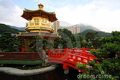 A pagoda in a Chinese garden