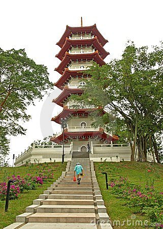 Pagoda in Chinese Gardens, Singapore Editorial Photo