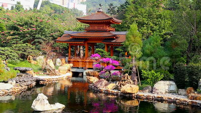 Pagoda in chinese zen garden stock video video of serene for Garden pool zen area