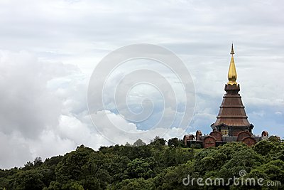 Pagoda and clouds at Doi Inthanon National park
