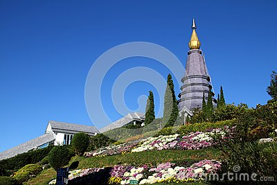 Pagoda and flower