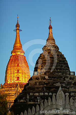 Pagoda with golden gilded stupa in Bagan