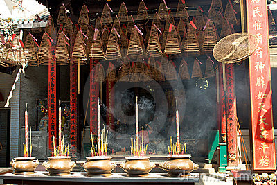 Pagoda with incense sticks