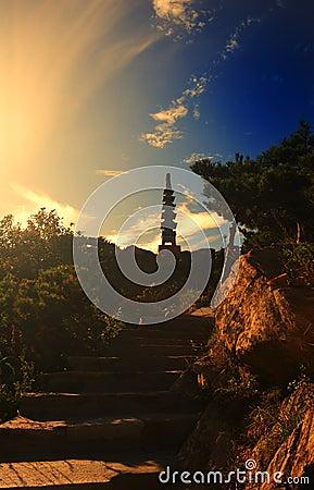Pagoda under the setting sun