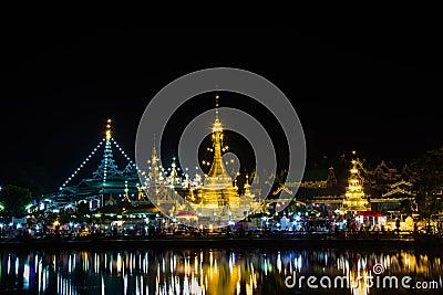 Pagoda  white of Wat Chong Klang and Wat Chong Kham at dusk