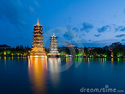 Pagodas in Banyan Lake in down