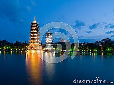 Pagodas in Banyan Lake in down