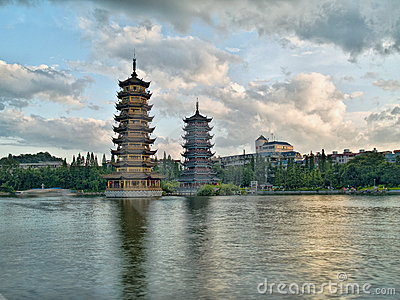 Pagodas in Banyan Lake in downtown Guilin