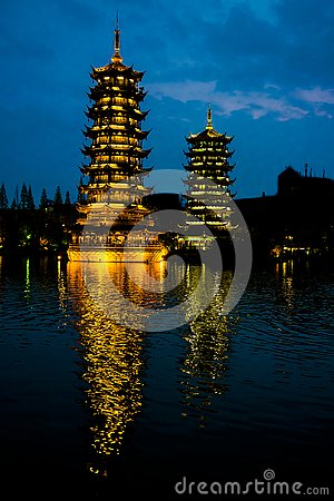 Free Pagodas Guilin, China, Sun And Moon Pagodas, Guangxi, China Stock Photo - 135465900