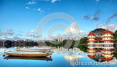 Pagodas beside a lake