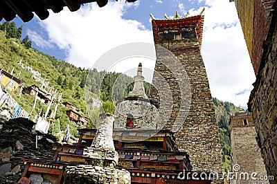 Pagodas and Maitreya stupas in the monastery Editorial Stock Photo