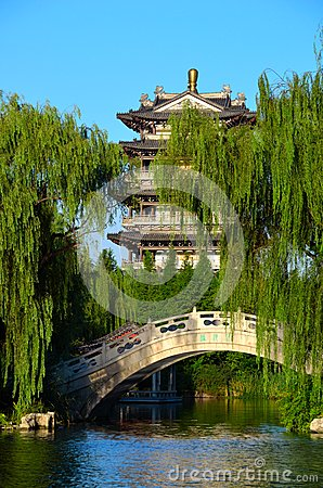 Pagodas, stone bridge, and willow