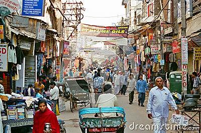 Paharganj, the Main Bazar of New Delhi, India Editorial Image