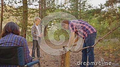Pai, filho cortando madeira no acampamento na floresta de verão Pai e filho cortando madeira com machado em acampamento familiar vídeos de arquivo